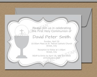 Blue Gray First Communion Invitation Template Printable Etsy