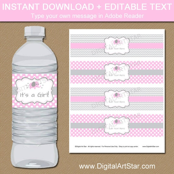Pink Elephant Baby Shower Water Bottle Labels Pink Gray Chevron Elephant Pink Polka Dot Elephant Baby Shower Decorations Instant Download