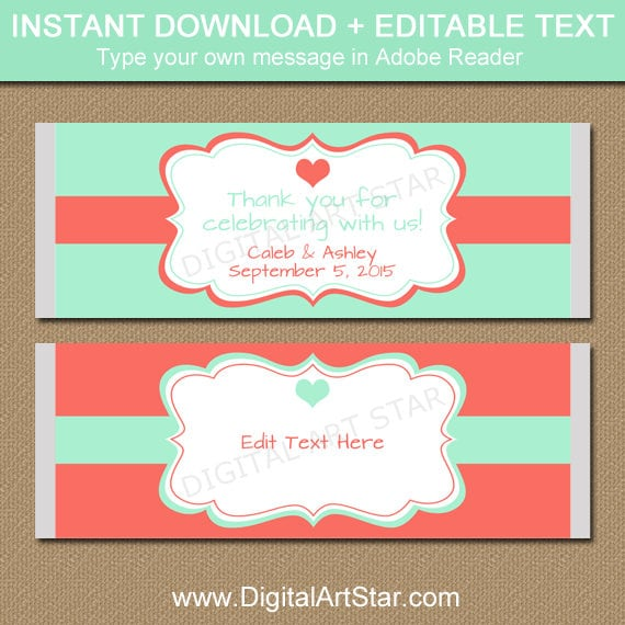 image regarding Printable Candy Labels identify Mint Environmentally friendly and Coral Chocolate Wrappers - Printable Bridal