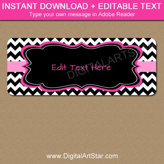 Printable Pink Black Chevron Address Labels Editable Return