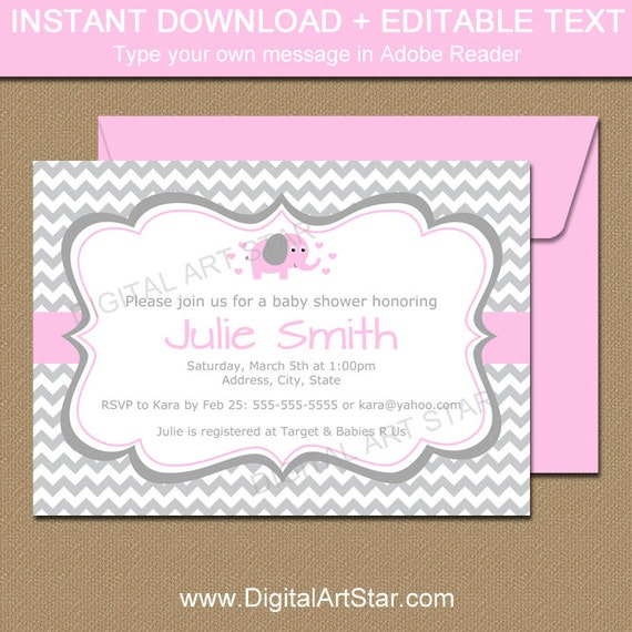 Pink elephant baby shower invitation template pink and gray etsy image 0 filmwisefo