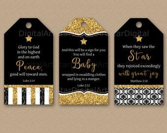 Printable Christian Christmas Tags - Christian Gift Tags - Bible Verse Tags - Printable Christmas Tags - Glitter Christmas Gift Tags B4