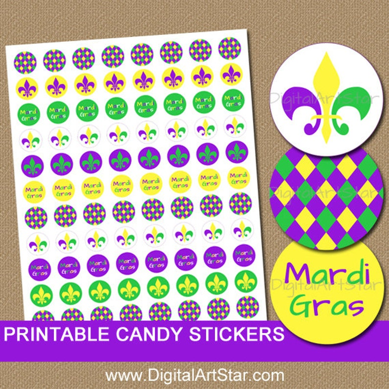 graphic regarding Printable Candy Labels referred to as Mardi Gras Sweet Stickers, Printable Mardi Gras Stickers, Do it yourself Social gathering Favors, Mardi Gras Birthday Strategy, Sweet Labels Instantaneous Obtain M1