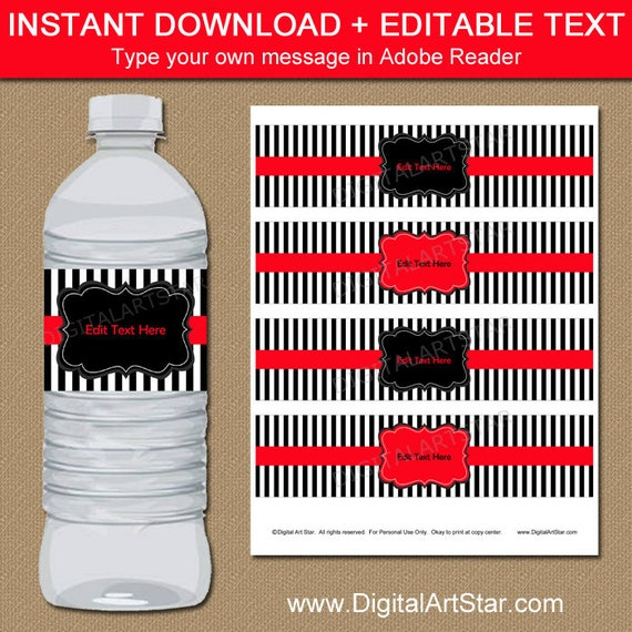 Red And Black Water Bottle Labels Birthday Template Downloadable