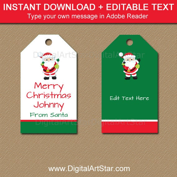 graphic about Santa Tag Printable named Instantaneous Down load Xmas Tags, In opposition to Santa Present Tags