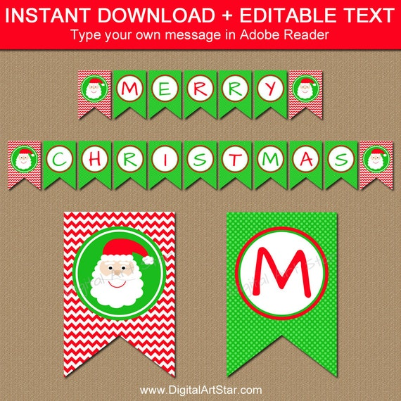 Merry Christmas Letter Banner Printable.Christmas Banner Diy Printable Holiday Banner Santa Banner Christmas Decorations Instant Download Merry Christmas Banner Bunting C4