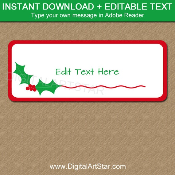 christmas address labels editable printable christmas return etsy