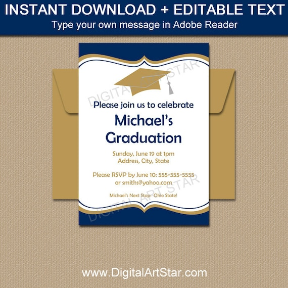 photo relating to Printable Graduation Invitations known as Commencement Announcement Template, Commencement Invitation