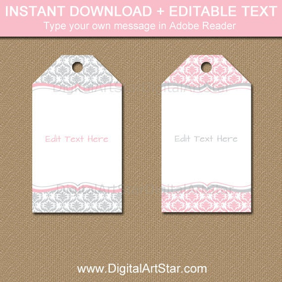 Girl Baby Shower Thank You Tags Wedding Favor Tags Printable Pink