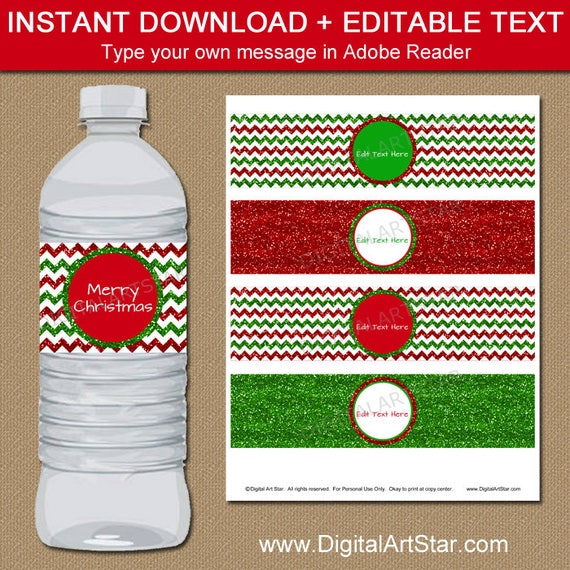 Christmas Water Bottle Label Template Christmas Favors Holiday