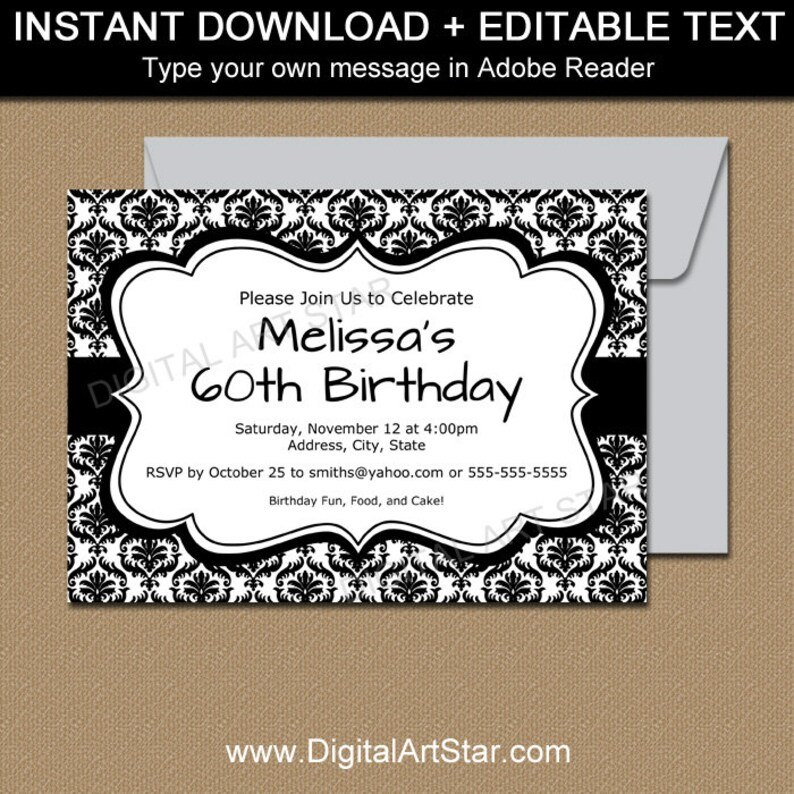 Black And White Invitation Template Birthday Printable Wedding Instant Download Baby Shower Invites