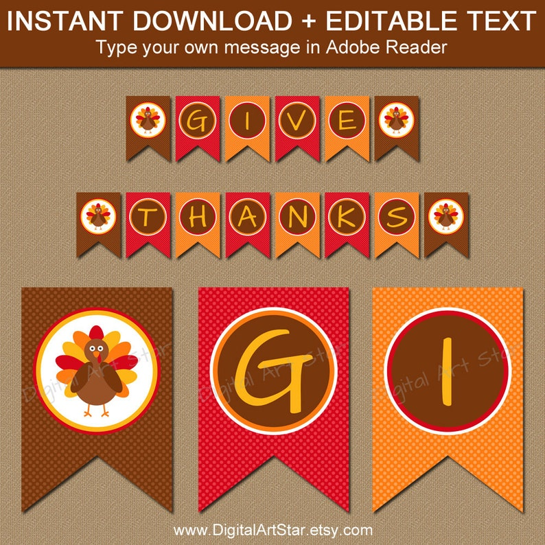 graphic relating to Printable Thanksgiving Banner identify Printable Thanksgiving Banner - EDITABLE Thanksgiving Banner - Do it yourself Turkey Banner - Printable Thanksgiving Decor - Celebration Decorations T1