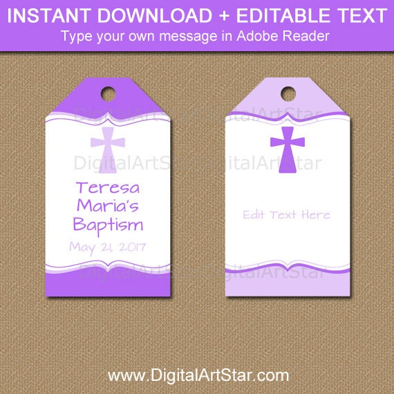 Printable Baptism Tags Purple Baptism Favor Tags Purple First Communion Tags Baptism Thank You Tags Christening Thank You Tags I5 By Digital Art Star Catch My Party