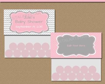 Printable Pink and Grey Baby Shower Bag Toppers - EDITABLE Chevron Bag Toppers - Baby Shower Party Favors, Bridal Shower, Birthday - PGCD