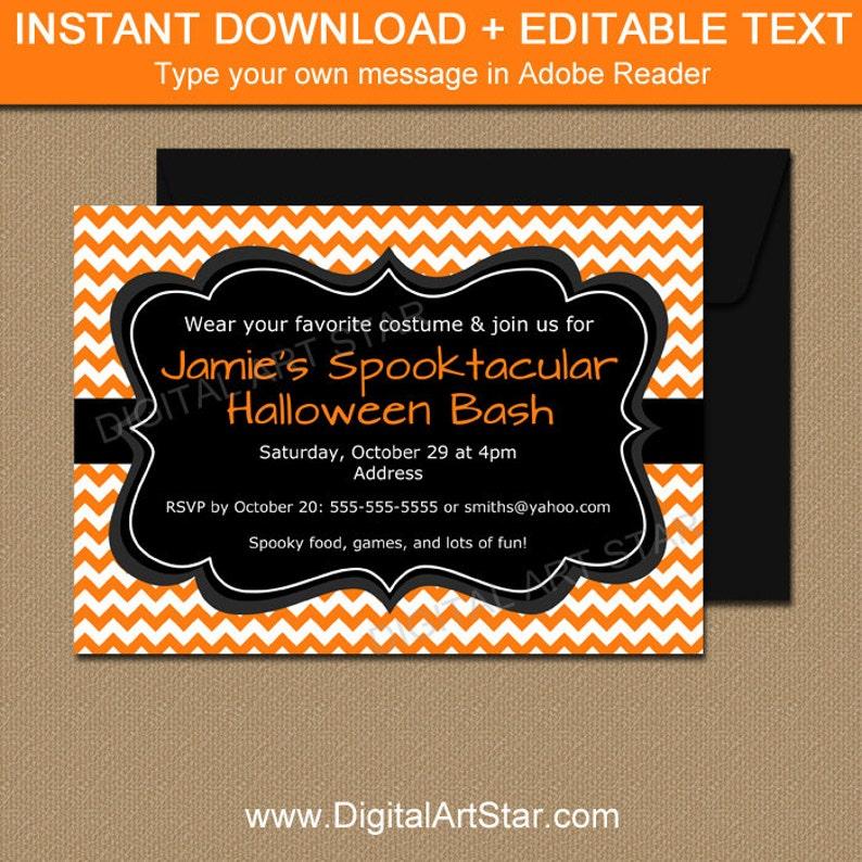 Adult Halloween Invitation Template Party Invitations 5x7 Sign Orange Chevron Printable