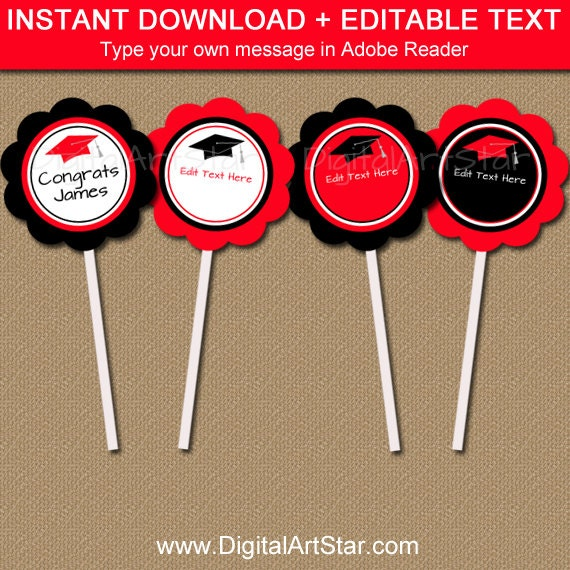 Christmas DIY Circle Tag Party Sticker Cupcake Toppers Editable Reindeer Instant Download Printable Party Template