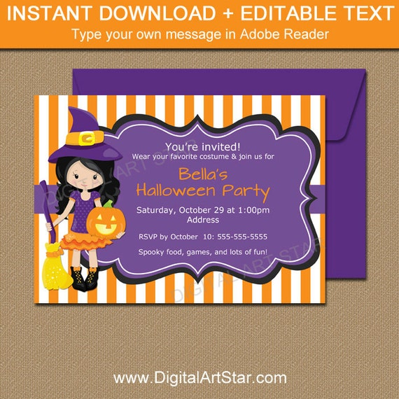 halloween invitation for kids halloween birthday invitation