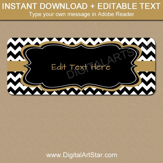 image regarding Gold Printable Labels known as Printable Deal with Labels - Black Gold Chevron Return Protect Label - EDITABLE Terms Go over Label Template Youngster Shower Bridal Shower Labels