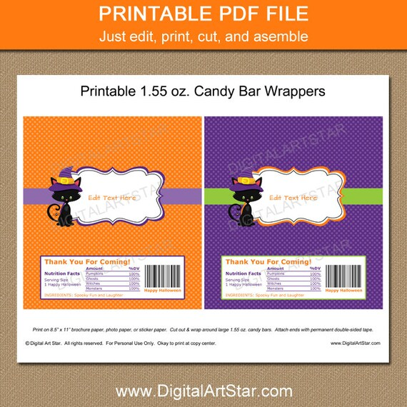 Halloween Candy Wrappers Halloween Candy Bar Wrapper Etsy