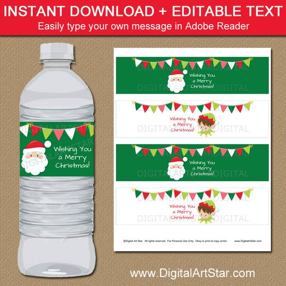 printable christmas water bottle labels editable santa water etsy