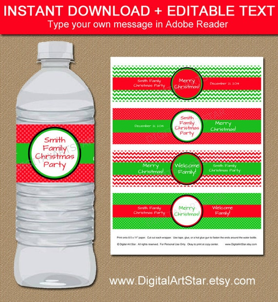 Instant Download Christmas Water Bottle Labels Editable Holiday