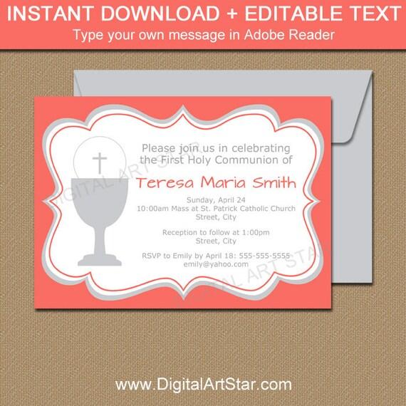 1st communion invitation downloadable invitations girl first