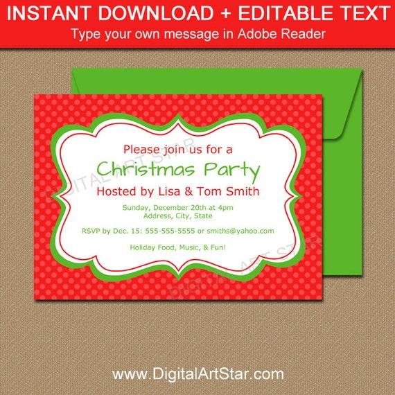 editable christmas invitation holiday invitation printable etsy