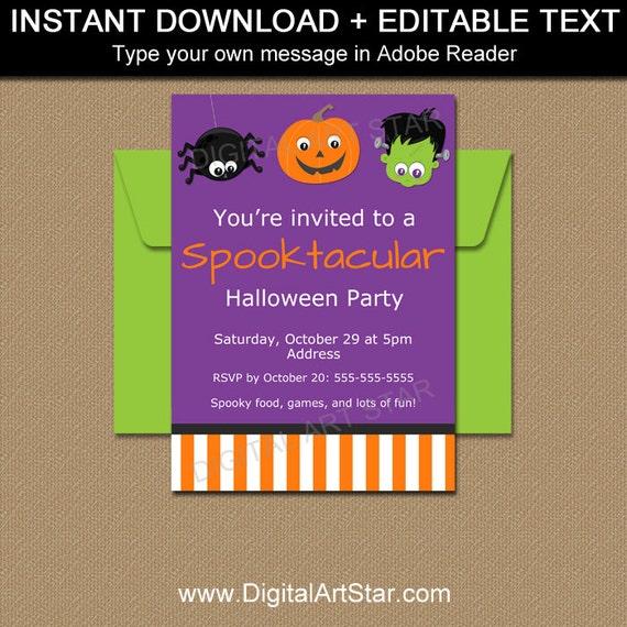Spooktacular Party Invitation Halloween Download