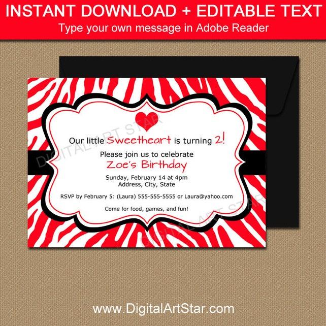 Red zebra valentines day invitations kids valentine birthday etsy image 0 filmwisefo