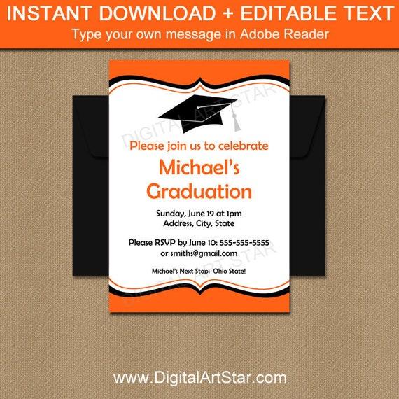 Orange And Black Graduation Invitation Template High School