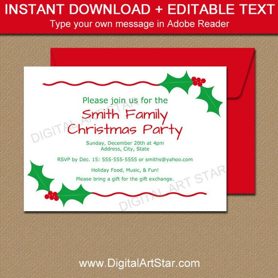 Editable Christmas Party Invitation Christmas Holly Invite Etsy