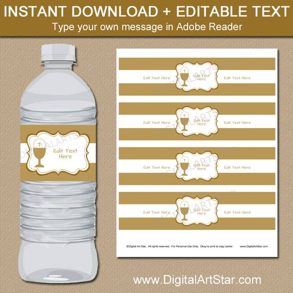 Gold First Communion Water Bottle Labels Template Boy First Communion Decorations Ideas Communion Favors Girl Printable Decor Fc1 By Digital Art Star Catch My Party
