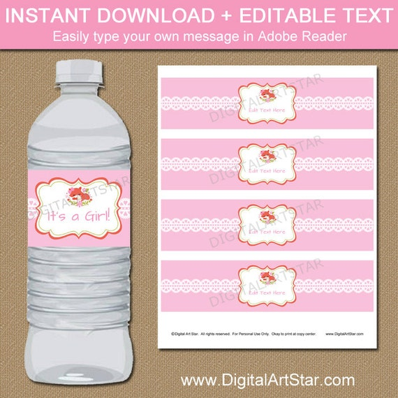 Woodland Baby Shower Water Bottle Labels Girl Fox Baby Shower Decorations Instant Download Forest Animals Baby Shower Bottle Labels Bsgf