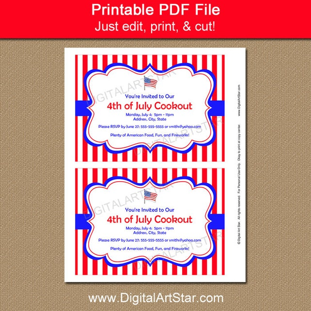 patriotic invitations cookout invites printable 4th of july invitation template july 4th birthday invitation red white and blue p1