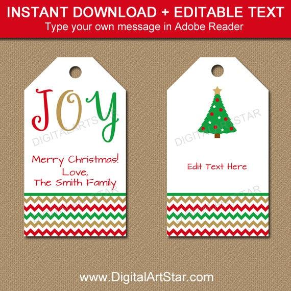 Printable Christmas Gift Tags Editable Christmas Hang Tags | Etsy
