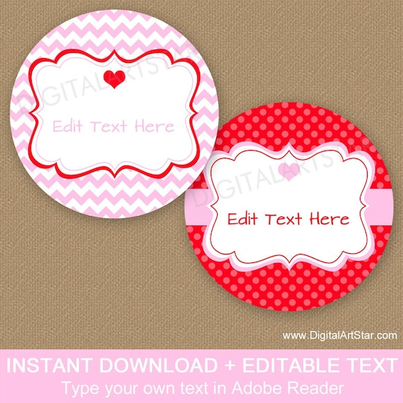 Valentine Party Favors V1 Valentine Bag Toppers EDITABLE Valentine Bag Labels Instant Download Printable Valentines Day Bag Toppers