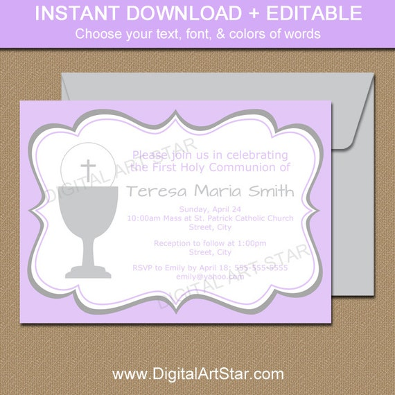Lavender Grey First Communion Invitation Template Printable Girl