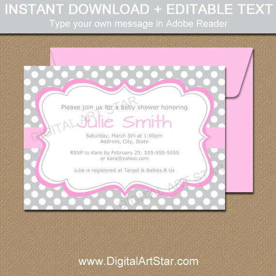 baby shower invitations printable girl baby shower invite gray