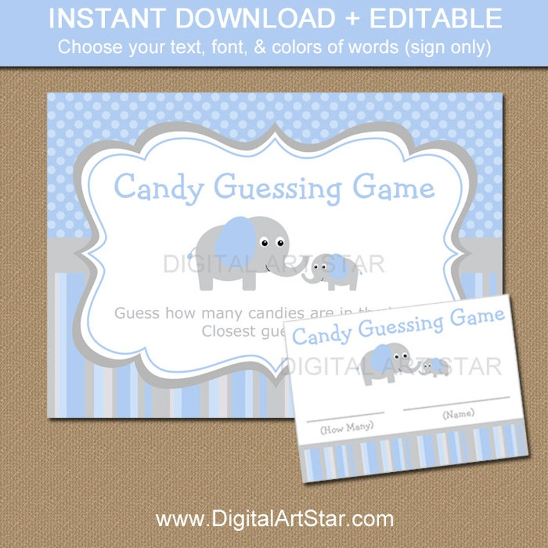 Elephant Candy Guessing Game  Elephant Guess How Many Game  image 0