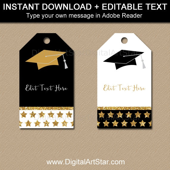 photograph regarding Thank You Printable Tag referred to as Commencement Tags, Black Gold Commencement Bash Desire Tags