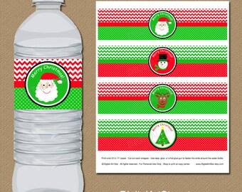 Christmas Water Bottle Label Template, Kids Christmas Party DIY Printable Christmas Labels, INSTANT DOWNLOAD Santa Water Bottle Labels C4