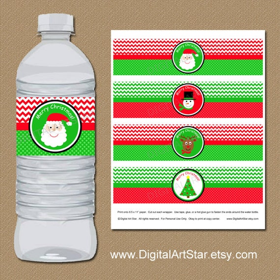 Christmas Water Bottle Label Template Kids Christmas Party DIY