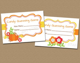 Fall Candy Guessing Game Pumpkin, Baby Shower Candy Game, Fall Party Games, Printable Games for Adults, Thanksgiving Game, Guess How Many B7