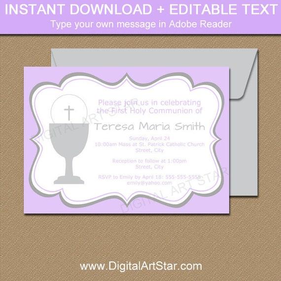 First Communion Invitation Lavender First Communion Invitation Girl