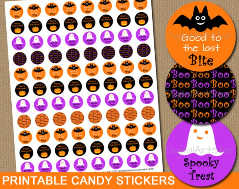 image about Printable Candy Labels named Printable Halloween Bash Favors Do-it-yourself Sweet Stickers - Halloween Sweet Labels Chocolate Stickers - Halloween Sweet Buffet - Immediate DOWNLAOD