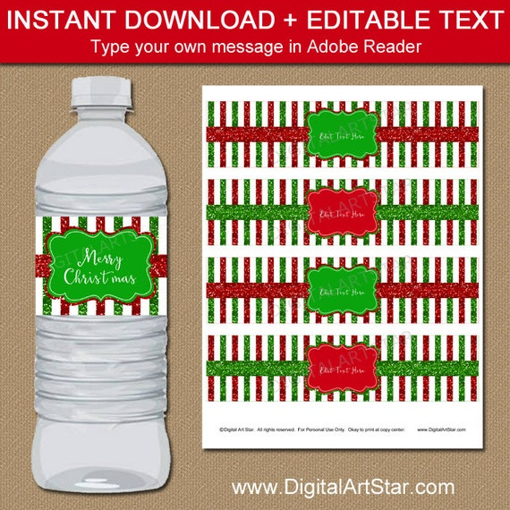 Christmas Decorations Printable Christmas Water Bottle Labels