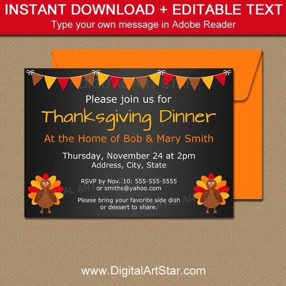 thanksgiving dinner invitation template thanksgiving chalkboard