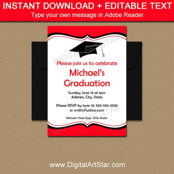 graduation invitation instant download printable graduation party