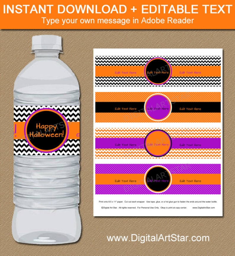 graphic about Water Bottle Labels Printable referred to as Halloween H2o Bottle Labels, Printable Halloween Drinking water Bottle Wrapper, Downloadable Halloween Labels Orange Crimson Black Template EDITABLE