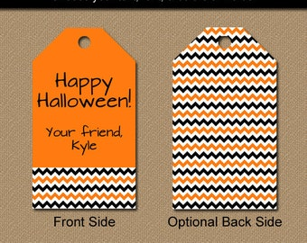 Orange and Black Party Favor Tags - EDITABLE Halloween Hang Tags - Printable Birthday Tags - Halloween Chevron Tags - Orange Birthday Tags